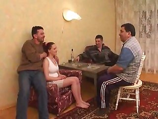 Russian college girl Lola gangbanged