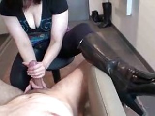cfnm, leather, amateur, girl, gives, handjob, boots, big cock, erotic, good, high heels