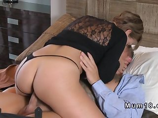Blonde mom in thong bangs young dick