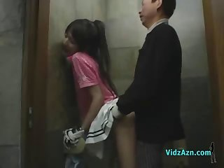 Asian Girl In Golf Dress Fingered Fucked While Standing Cum To Ass In The Toilette