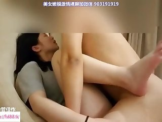 Cute chinese girl with glasses and hairy pussy, sucking and fucking