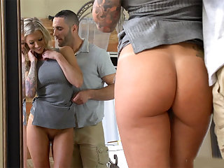 MILF stepmom with a tight body cheating on her husband