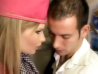 Stewardess gives head and also has anal sex