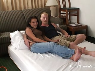 Horny amateur couple film their first homemade video