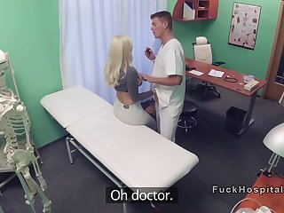 Big fake tits blonde got doctors cock