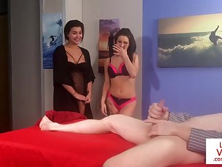 Lingerie voyeurs instructing their sub to tug