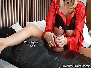 dominant women use defenseless cock for sex with post orgasm