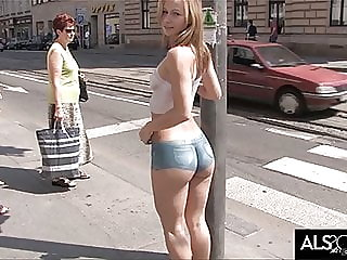 Sexy Babe Sports Painted On Outfit in Public