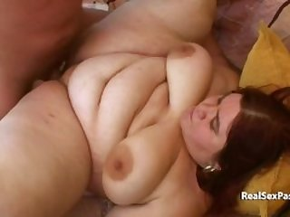 Fat redheads stomach and boobs hang like udders