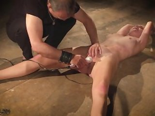 Bondage and tied up pussy fingering for slutty blonde