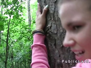 Czech student bangs in woods pov