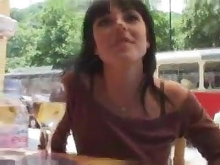 brunette sucks and fucks in a small wood near people