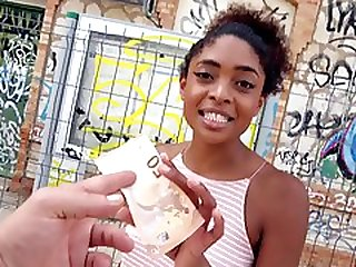 Chocolate Skin Nymphette Gives Up Her Pussy For Some Cash