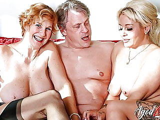 AGEDLOVE Two Blonde Ladies Have Hard Threesome Sex