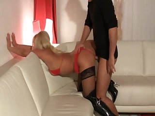 Cute blonde in boots blowjob and fuck