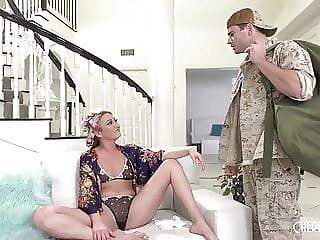 Army Stepson Comforts Hot Blonde Stepmom With His Cock