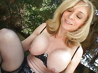 Blonde housewife sits by the pool when man comes to fuck her