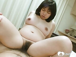 Hairy Asian moans loudly while I fuck her