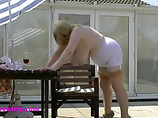 Sally In The Sun In A White Pantie Girdle