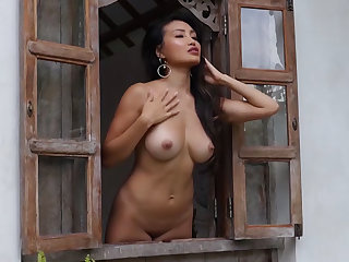 Glamorous asian and abony babes sensual striptease