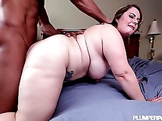 Chubby Blonde Woman Getting Fucked With Giant Black Cock