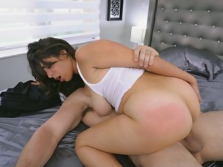 Brunette big ass milf spanked hard by big cock neighbor