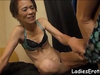 Asian granny hairy pussy creampie