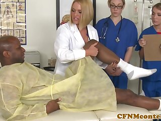 CFNM nurses sucking bbc before facial