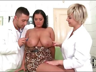 Busty girl threesome in doctor office