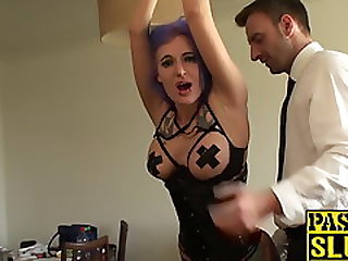 Slut With Purple Hair Tied Up For Flogging And Dicking