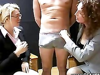 Eager cfnm sluts want to get to his naked hard dick