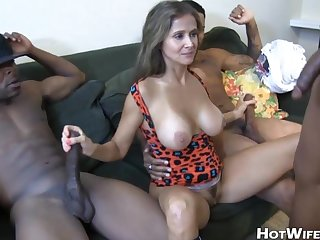 Milf and 3 big cocks