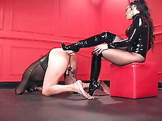 Slave Fucked With High Heel Boots