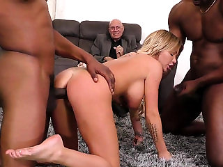 Buxom wife rides black dicks