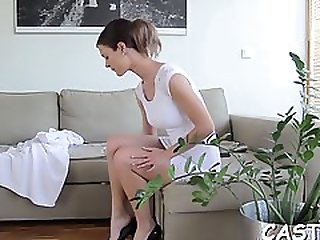 Elegant Brunette Nymph Scarlett Fever Erotically Teases