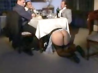 The French maid is team-fucked at a party