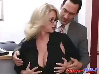 Blonde big tits secretary MILF seduced by her boss