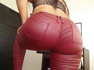 Dance with leather red pants