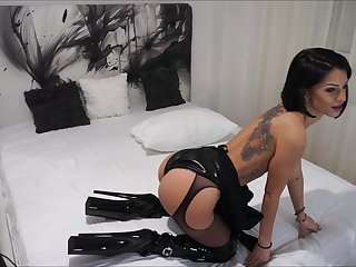 Anisyia Livejasmin Latex Extreme HighHeels Boots -buttpluged and fucked