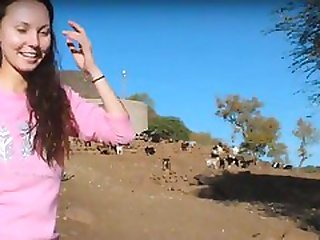 White Girl Bathing In Africa