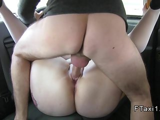 Fat busty amateur fucks in fake taxi