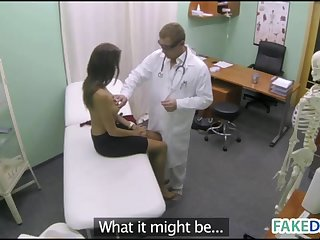 Hot babe in a fake hospital
