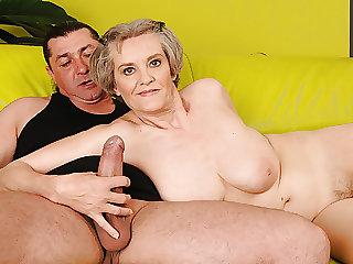 Old Mom with Grey Hair Hops on Young Dick