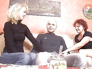 German Mature Seduce Stranger Guy to Fuck First Threesome