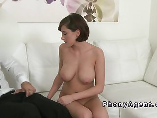 Cute big tittied amateur in casting