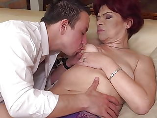 Hairy granny gets taboo sex from boy