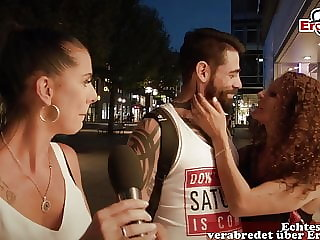 german casting for cuckold on street with couple in public