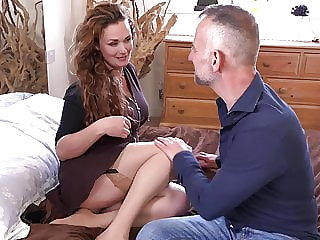 MILF fucks sugar daddy in front of mirror