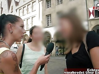 EroCom Casting for german First time Threesome with camera
