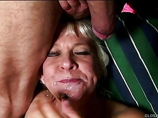 Cock hungry blonde old spunker sucks dick 4 a facial cumshot